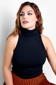 Black Turtleneck Sleeveless Top Plus Sizes