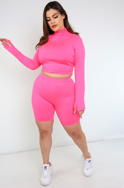 Hot Pink Thumbhole Zip Up Crop Top Plus Sizes