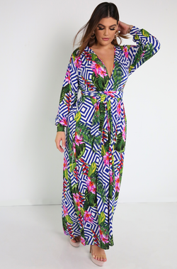 Blue Plunge Long Sleeve Maxi Dress Plus Size