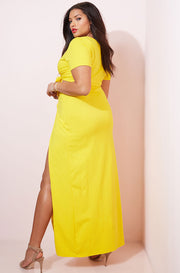 Yellow Front Tie Bodycon Maxi Skirt plus sizes