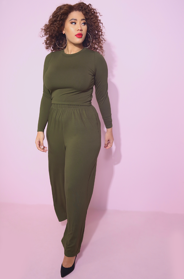 Olive Palazzo and Crop Top Set Plus Sizes