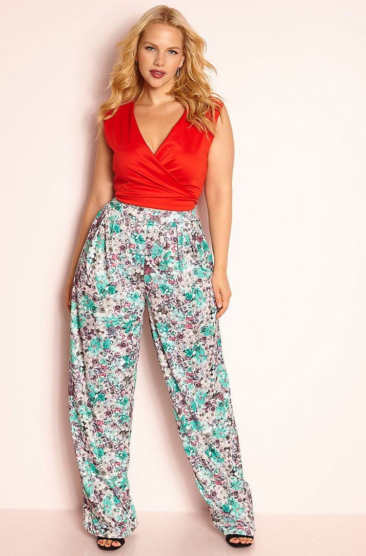 Green Pleated Pant Plus Sizes