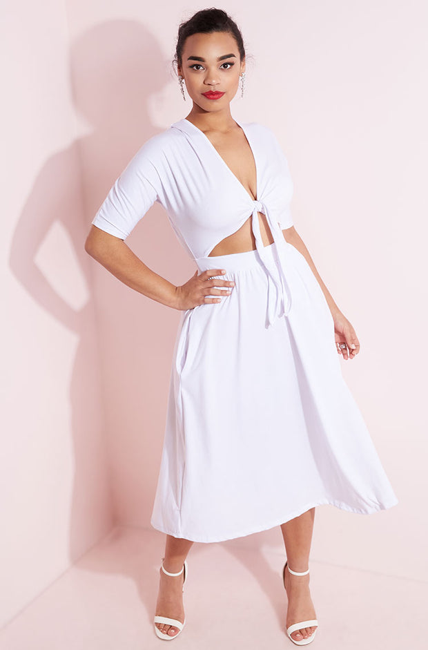 White Front Tied Skater Dress plus sizes