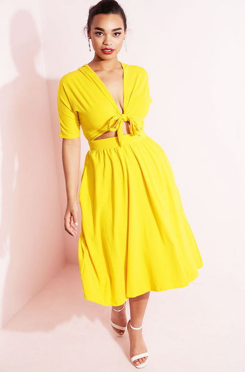 Yellow Front Tied Skater Dress plus sizes
