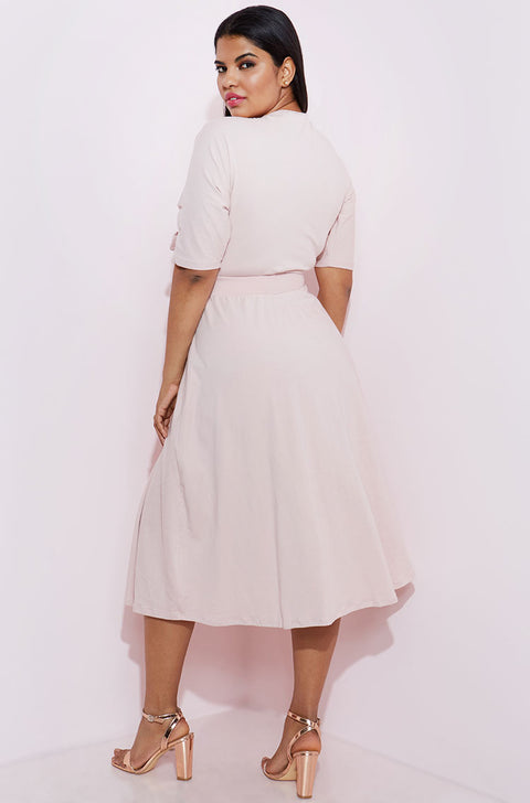 Blush Front Tied Skater Dress plus sizes