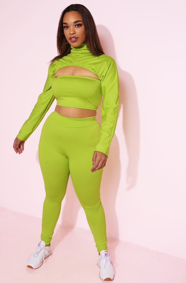 neon green Turtleneck Cropped Jacket plus sizes