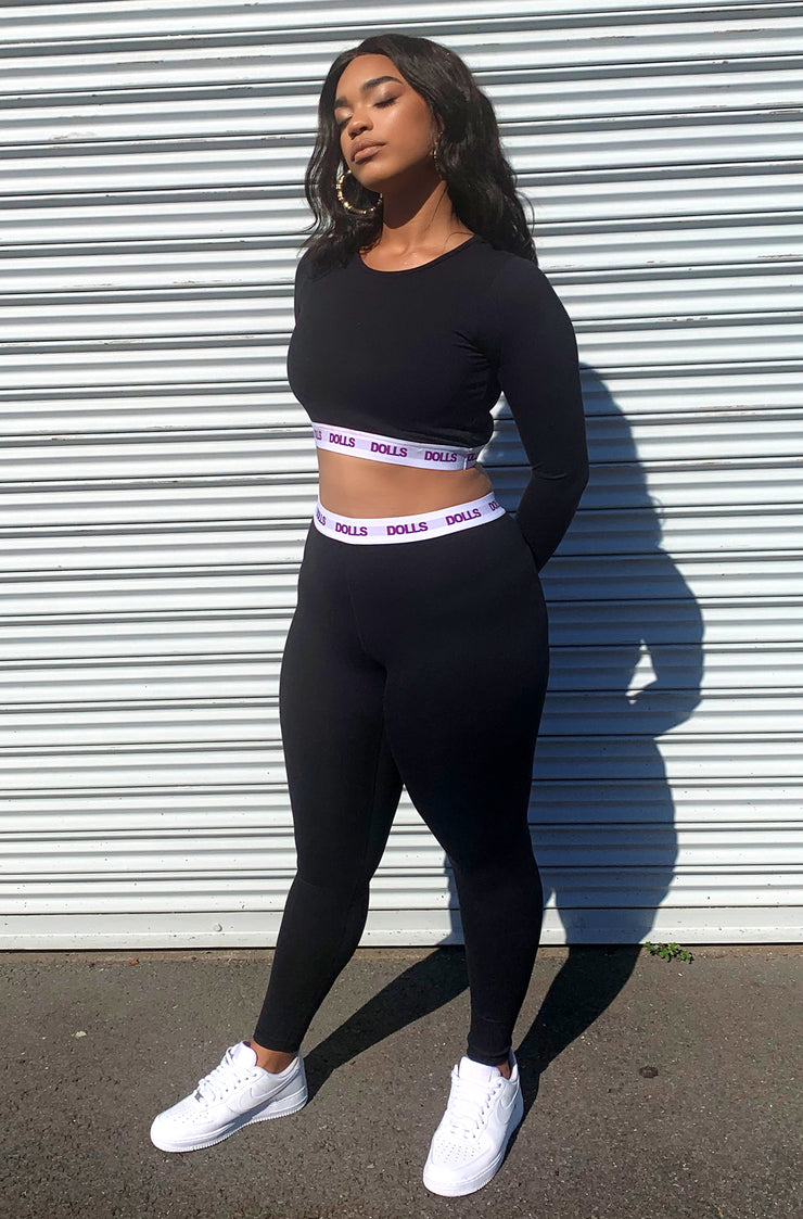 Black Long Sleeve Sport Crop Top Plus Sizes