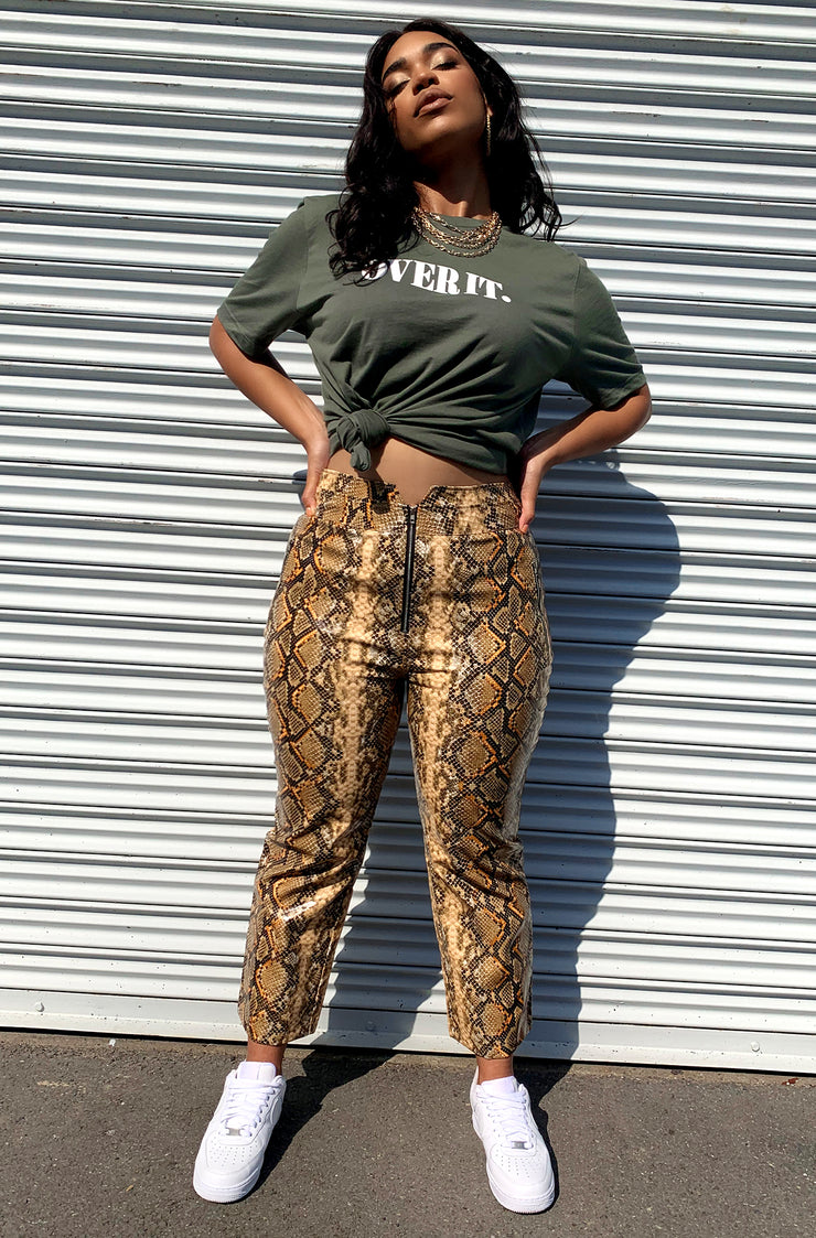 Brown Snake Print Cigarette Pants Plus Sizes