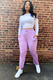 Lilac High Waist Joggers Plus Sizes