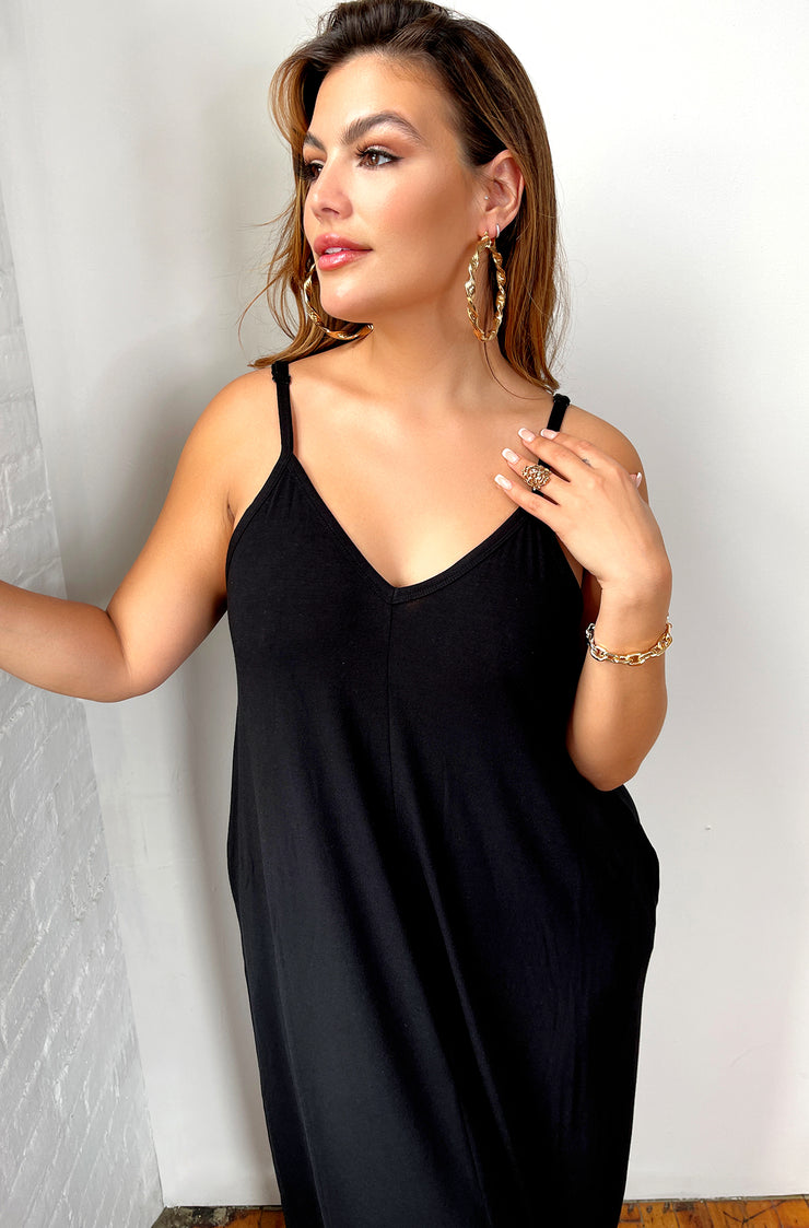 Black Solid Maxi Dress With Pockets Plus Sizes