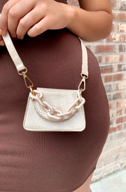 Beige Croc Mini Bag with Chain Plus Sizes