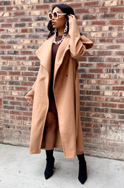 Waterfall Wide Collar Coat Nude plus sizes