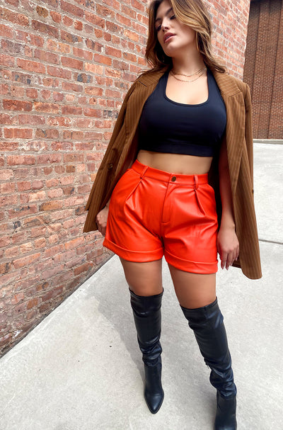Salmon Pleated Faux Leather Shorts Plus Size