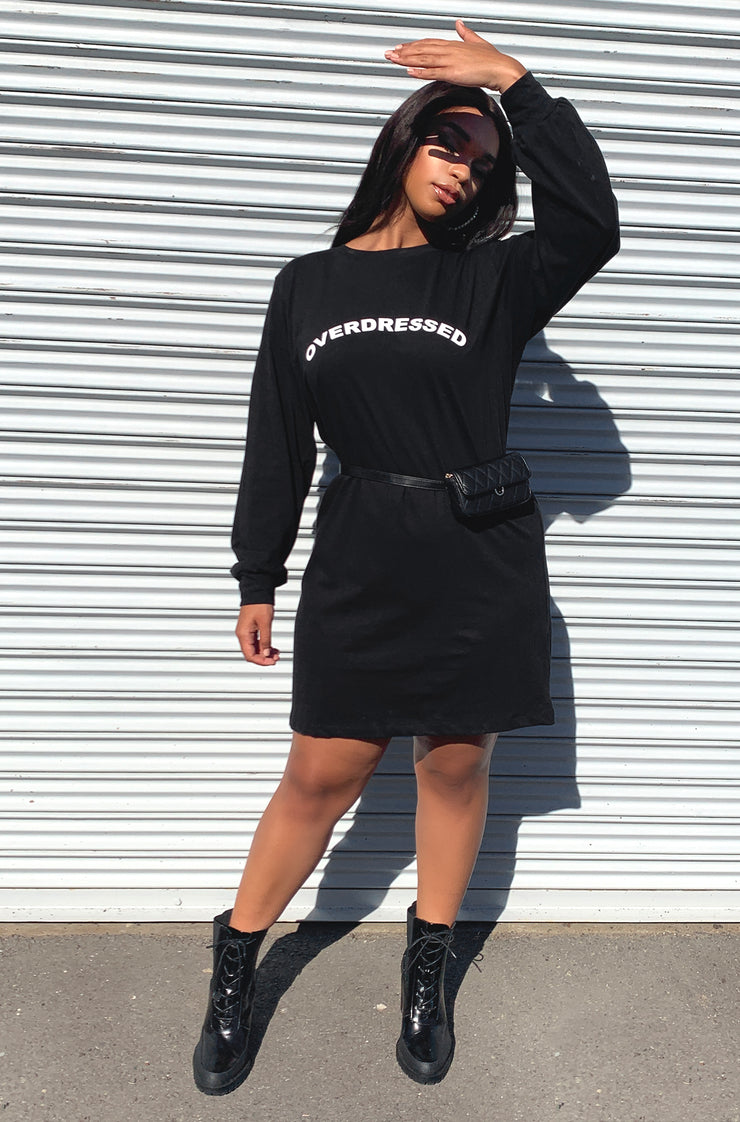 Black Longline Long Sleeve T-Shirt Dress Plus Sizes