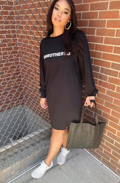 Black Longline Long Sleeve Graphic T-Shirt Dress Plus Sizes
