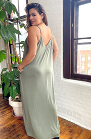 Light Olive Solid Maxi Dress With Pockets Plus Sizes