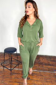 Ash Olive 3 Button Jumpsuit Plus Sizes