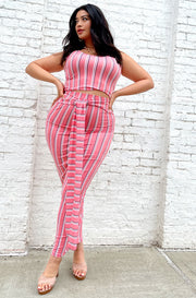 Pink Stripe Tank & Maxi skirt Two Piece Set Plus Sizes