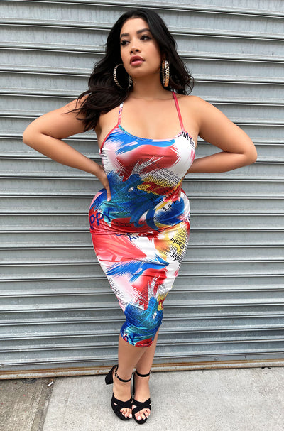 Orange Graphic Bodycon Midi Dress Plus Sizes
