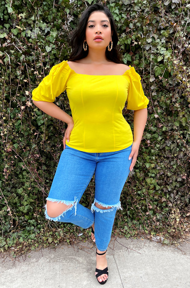 Yellow Top with Pleated Shoulders Plus Sizes