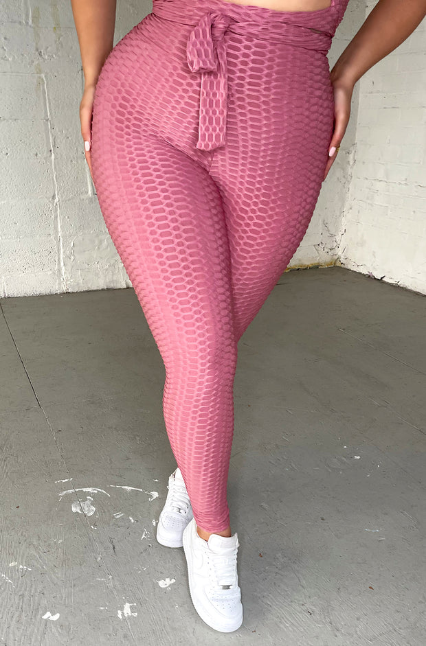 Light Pink Honeycomb Textured Sports Leggings Plus Sizes