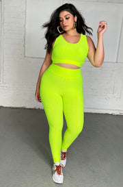 Neon Green Honeycomb Textured Sports Leggings Plus Sizes