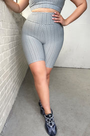 Gray Honeycomb Textured Sports Short Leggings Plus Sizes