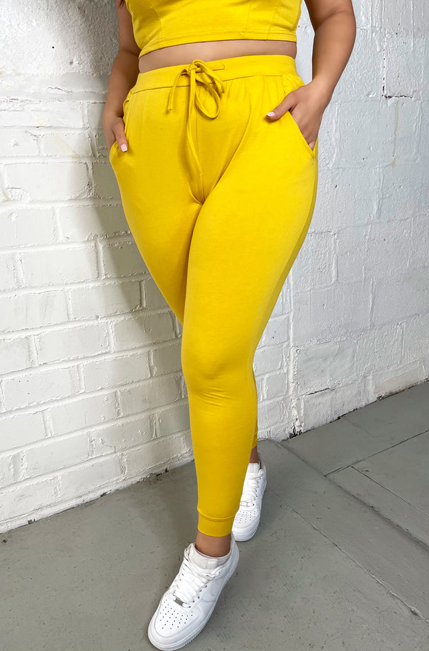 Yellow Lounge Drawstring Joggers Plus Sizes