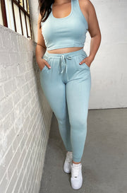 Green Lounge Drawstring Joggers Plus Sizes