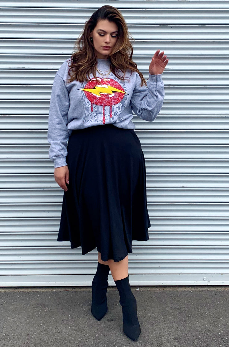 Grey Lip Lightening Graphic Sweatshirt Plus Sizes