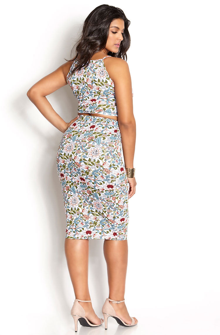 White Midi Bodycon Two Piece Set plus sizes