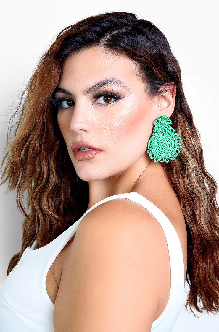 Green Beaded Statement Earrings