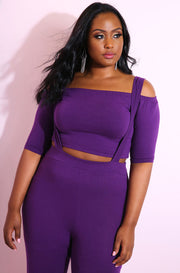 Purple Over The Shoulder Crop Top plus sizes