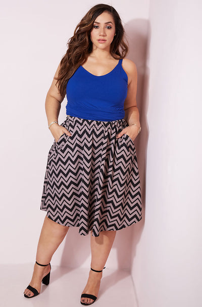 Brown Skater Midi Skirt With Pockets Plus Sizes