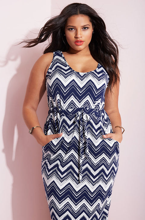 Blue Side Slit Drawstring Maxi Skater Dress plus sizes