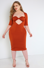 Rust Red Bandeau Cut-Out Bodycon Midi Dress Plus Sizes