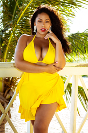Yellow Wrap Ruffled Swimsuit Cover Up Plus Sizes