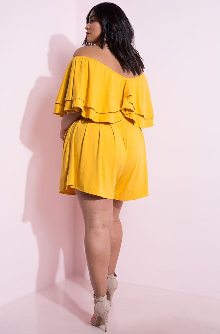 mustard Ruffled Wide Leg Shorts Set Plus Sizes