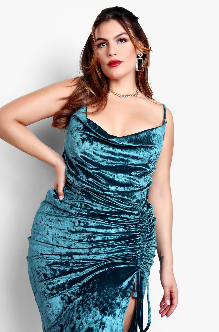 Aquamarine Plus Size Velvet Cowl Neck Midi Dress with Ruched Side Slit
