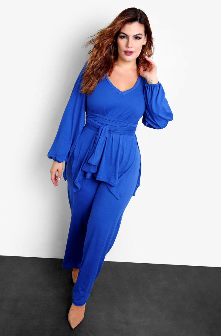 "Rebdolls ""In Chains"" Wide Leg Pants & Long Sleeve Top Set - Royal Blue"