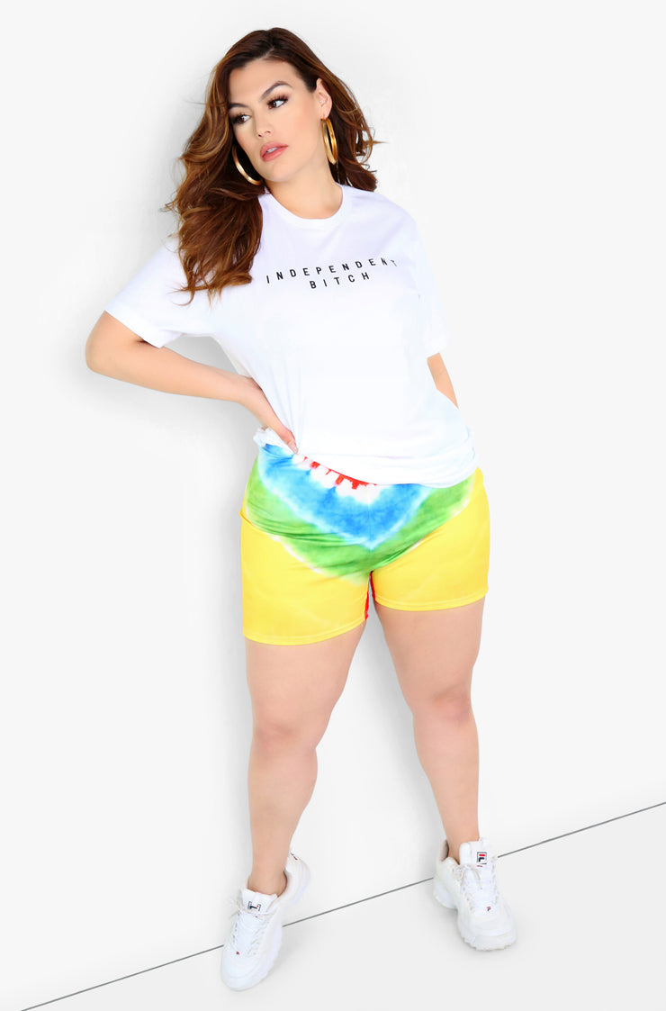 White Graphic Crew Neck T-Shirt Plus Size