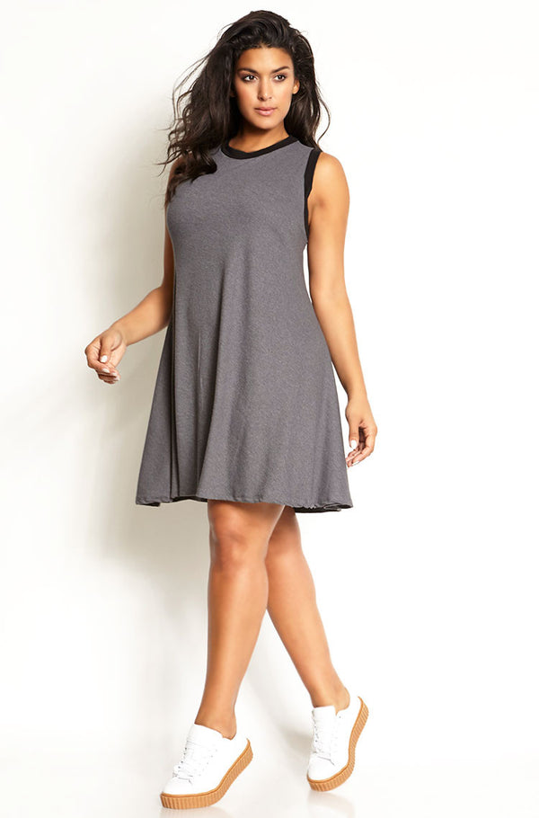 Gray Sporty Flared Ribbed T-Shirt Mini Dress plus sizes