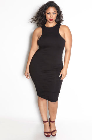 "Grisel. ""Love Sick"" Ruched Turtleneck Midi Dress - Final Sale Clearance"