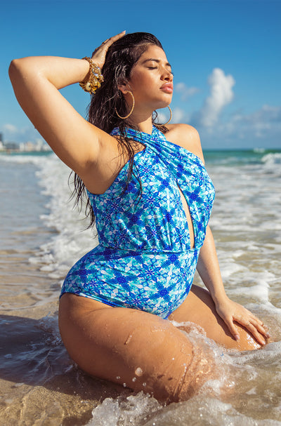 Blue One Piece Swimsuit Plus Sizes