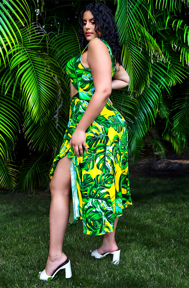 Green Ruffled Tropical PrintSkater Midi Dress Plus Sizes