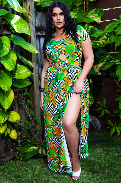Green Cut-Out Short Sleeve Maxi Dress Plus Sizes