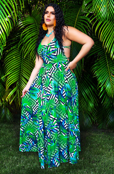 Green Palm Print Lace Up Maxi Dress Plus Sizes