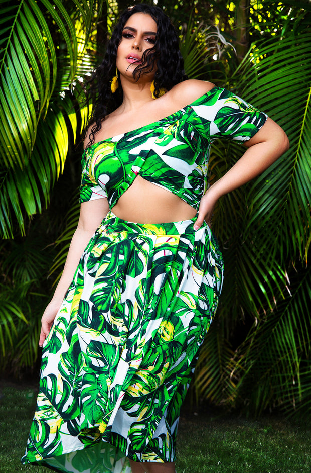 Green Palm Print Skater Midi Dress Plus Sizes