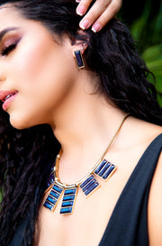 Black Jewel Statement Necklace With Matching Earrings