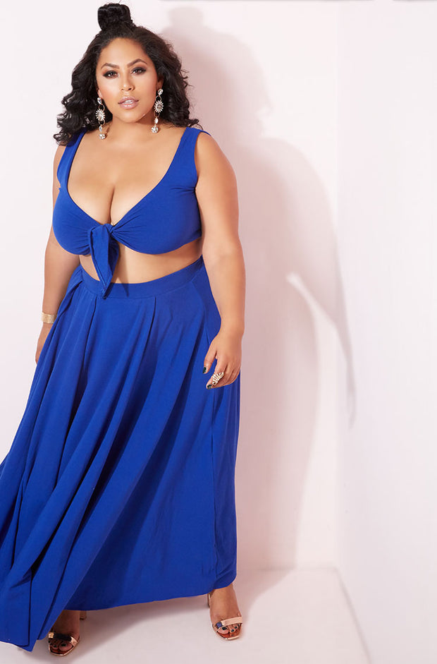 Royal Blue Pleated Maxi Skirt Plus Sizes